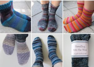 collage of six pairs of socks