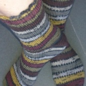 striped handknit socks side view