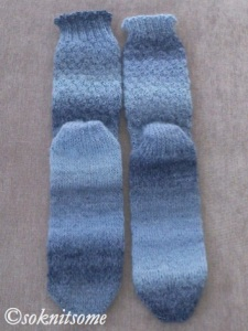 Tonal blue socks - soles and back leg