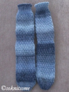 Tonal blue socks - front foot and leg