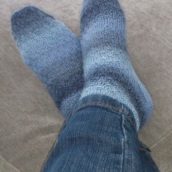 Tonal blue socks - on feet