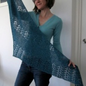 Woman holding blue lace scarf