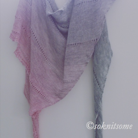 grey and pink triangular scarf